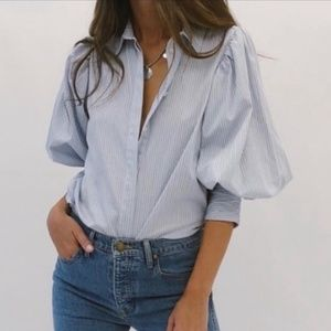 SOMETHING NAVY Striped Button Down Puff Sleeve Top
